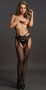 Сетчатые колготки с пикантными вырезами Suspender Pantyhose With Strappy Waist