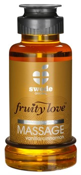 Лосьон для массажа Swede Fruity Love Massage Vanilla/Cinnamon с ароматом ванили и корицы - 100 мл.
