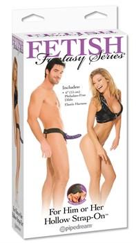 Фиолетовый фаллопротез Hollow Strap-On - 16 см.
