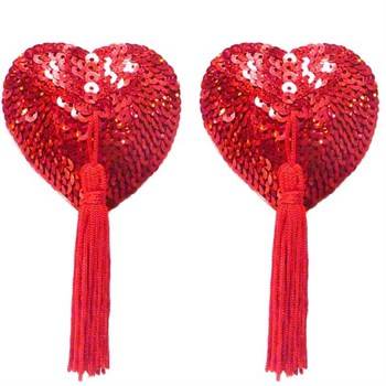 Комплект из пары красных пэстис-сердечек с паетками и кистями
