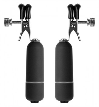 Чёрные клипсы на соски с вибрацией