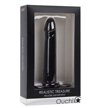 Чёрная насадка на пенис Realistic Treasure