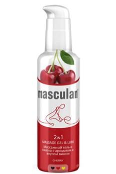Массажная гель-смазка Masculan с ароматом вишни 2-в-1 - 130 мл.
