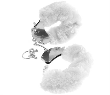 Металлические наручники с белым мехом Original Furry Cuffs