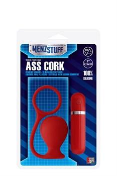 Красная вибровтулка MENZSTUFF ASS CORK WIDE - 7,5 см.