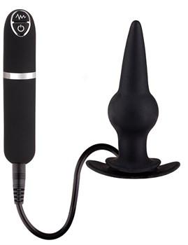 Черная вибровтулка Dash Butt Plug With Mini Controller III - 9 см.