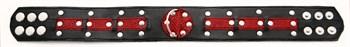 Чёрно-красный ошейник с клёпками