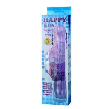 Фиолетовый вибратор-ротатор с клиторальным отростком - 21 см.
