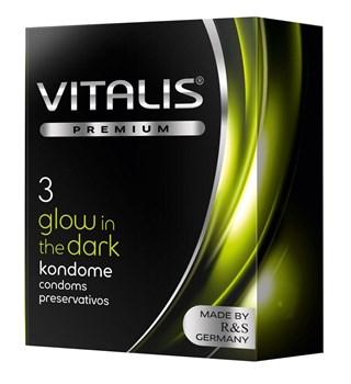 Свеящиеся в темноте презервативы VITALIS PREMIUM glow in the dark - 3 шт.