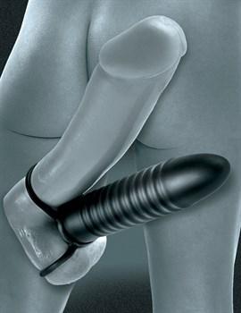 Рельефная насадка на пенис для двойной стимуляции Ribbed Double Trouble - 16,5 см.