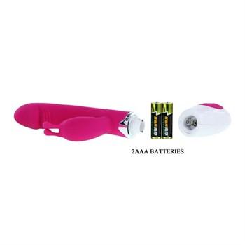 Розовый вибратор Gene с клиторальным стимулятором - 20,4 см.