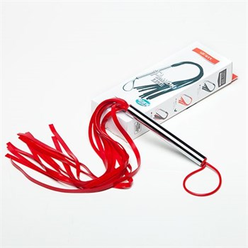 Красная резиновая плеть с металлической рукоятью - 55 см.