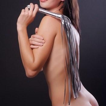 Серебристая плеть из искусственной кожи - 65 см.
