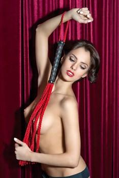 Красная замшевая плеть-кошка - 68 см.
