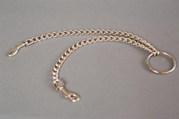 Металлическая цепь с центральным кольцом и карабинами по обе стороны