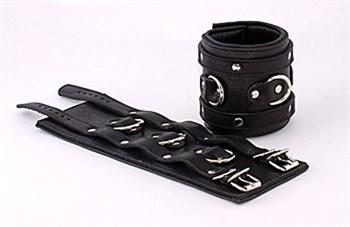 Широкие подвернутые наручники с 3 сварными D-кольцами