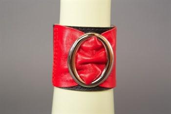 Красно-чёрный кожаный браслет с овальной пряжкой