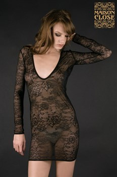 Чёрная ночная сорочка VILLA DES LYS MINI ROBE