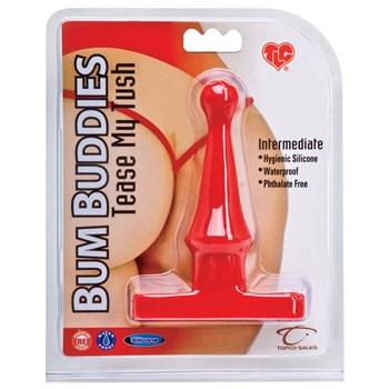 Красная анальная пробка Bum Buddies Tease My Tush, Intermediate Silicone Anal Plug - 12 см.