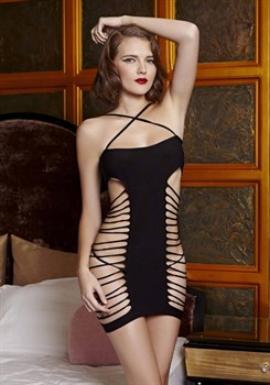 Прелестное платье с Т-образной непрозрачной частью