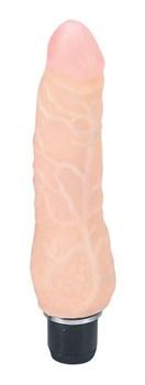 Реалистичный вибратор с розовой головкой - 16,5 см.
