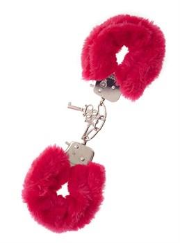 Металлические наручники с красной меховой опушкой METAL HANDCUFF WITH PLUSH RED