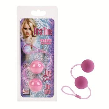 Розовые вагинальные шарики на гибкой сцепке FIRST TIME