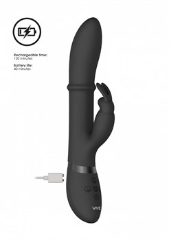Черный вибратор-кролик Halo со стимулирующим кольцом - 24,5 см.
