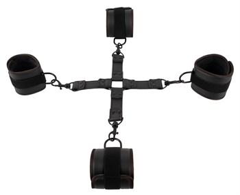 Черный набор крестовой фиксации Bondage Set