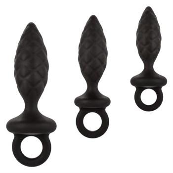 Набор из 3 черных анальных пробок Silicone Anal Probe Kit
