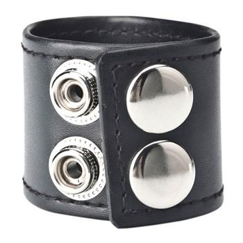 Хомут-утяжка для мошонки из искусственной кожи на клепках SNAP BALL STRETCHER