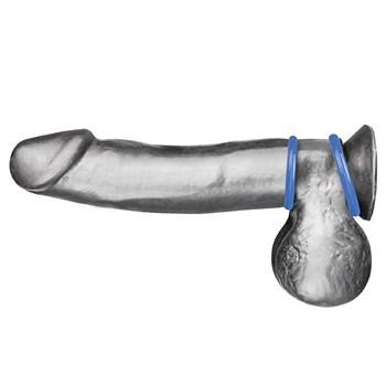 Набор из двух голубых силиконовых колец разного диаметра SILICONE COCK RING SET