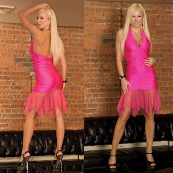 Клубное платье с прозрачным подолом