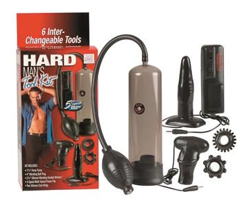 Набор для мужчин Hard Mans Tool Kit: вакуумная помпа, анальная пробка, эрекционные кольца и виброяичко