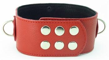Красный кожаный ошейник с короткими шипами