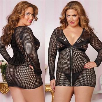 Обтягивающее платье увеличенного размера из крупной сетки с застежкой-молнией
