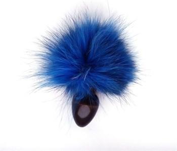 Чёрная анальная пробка с синим заячьим  хвостом
