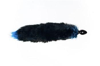 Малая чёрная анальная пробка с голубым лисьим хвостом