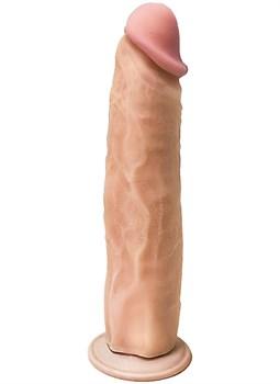 Телесный фаллоимитатор на присоске с большой головкой - 23 см.