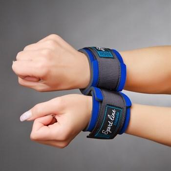 Синие наручники для начинающих с застежками на липучках
