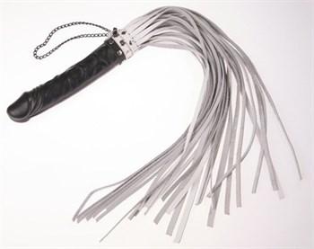 Белая плеть  Ракета  с чёрной ручкой-фаллосом - 65 см.