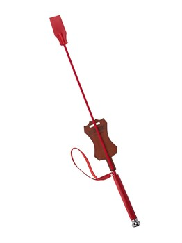 Красный стек с кожаной ручкой - 70 см.