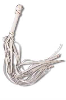 Белая кожаная плеть с хвостами-лентами - 78 см.