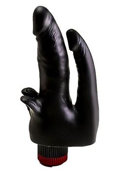 Чёрный вибромассажёр с двумя стволами и лепестками - 17 см.