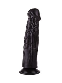Упругий чёрный фаллоимитатор на подошве-присоске - 18,8 см.