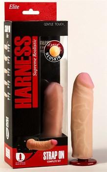 Страпон Харнесс: трусики с плугом и насадка из неоскин - 15,2 см.