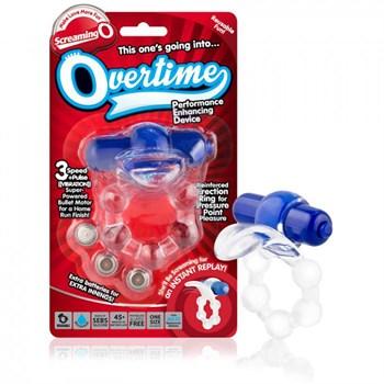 Виброкольцо с язычком и синим виброэлементом Overtime