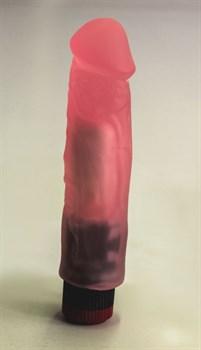 Розовый вибромассажер в виде фаллоса с венками - 18,5 см.