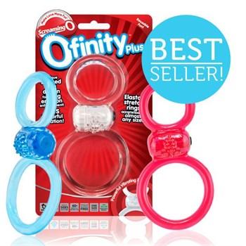 Красное двухпетельное кольцо с вибрацией Ofinity Plus