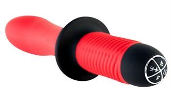 Двусторонний красный вибратор с двойным мотором - 28 см.